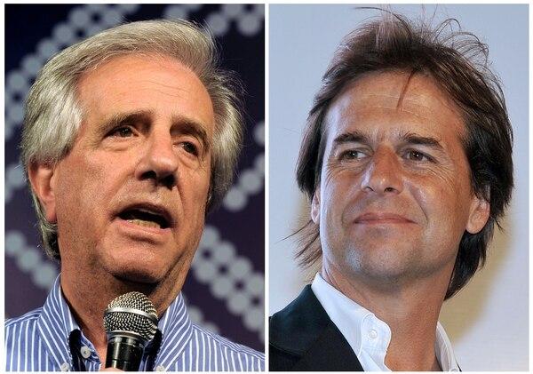 Los candidatos Tabaré Vázquez y Luis Lacalle Pou se enfrentan este domingo en el balotaje por la presidencia de Uruguay.