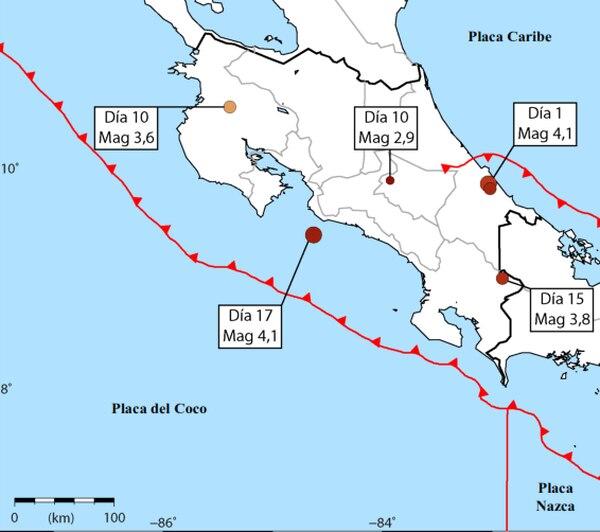Los dos sismos más fuertes del mes fueron sentidos en las zonas costeras, según la RSN.