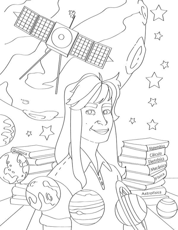 Ilustración para colorear de la ingeniera de la NASA Sandra Cauffman. Daniela Orozco/'Mujeres brillantes de la ciencia tica'.