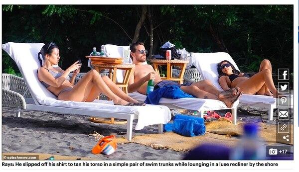 En esta captura de pantalla del diario británico 'Daily Mail' se puede ver a Kourtney junto a Scott y Kim disfrutando del sol en alguna playa costarricense. Imagen captura de pantalla.