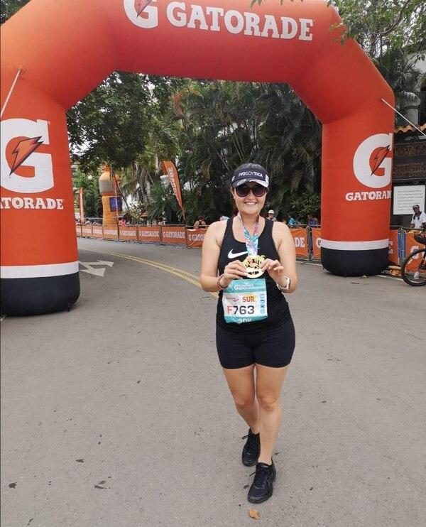 Cristina Villalta, de Cartago, participó en la distancia de 30 kilómetros de la Maratón de Flamingo. Foto: Cortesía.