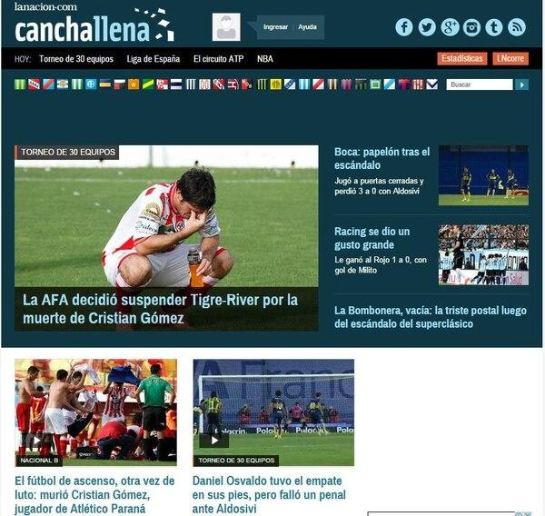 Medios de Argentina reproducen en sus portadas digitales noticias de la muerte del futbolista Cristian Gómez.