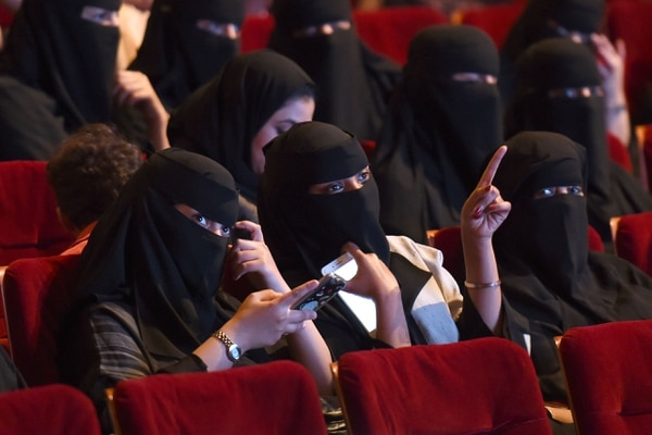 Mujeres saudíes asistían a la proyección de una película en Riad, durante un festival de cine que tuvo lugar el 20 de octubre del 2017.