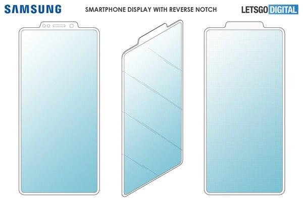 Así será el nuevo diseño del notch, según la pantente de Samsung. Foto. Let's Go Digital.