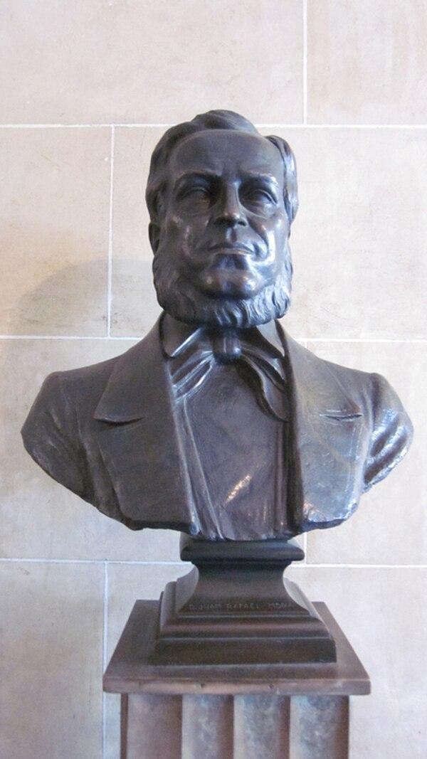 Busto de Juan Rafael Mora en la Galería de Libertadores de América, ubicada en el Palacio de Itamaraty (Brasilia). La obra fue elaborada por Horácio Peçanha en 1944.
