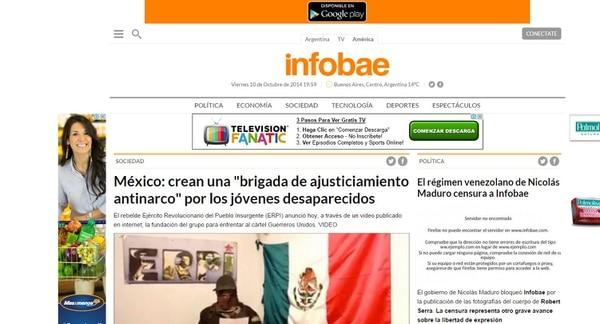 El gobierno venezolano bloqueó este viernes la página de noticias argentina Infobae por difundir imágenes retomadas de redes sociales del cadáver del diputado Robert Serra