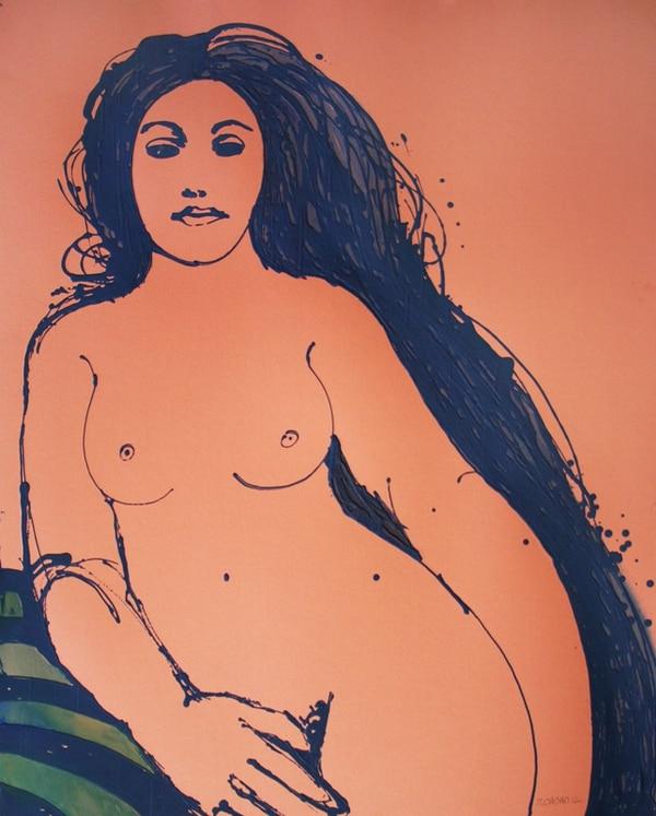 3. Desnudo femenino. Dibujo hecho con pintura Corrostyl sobre cartón de color.