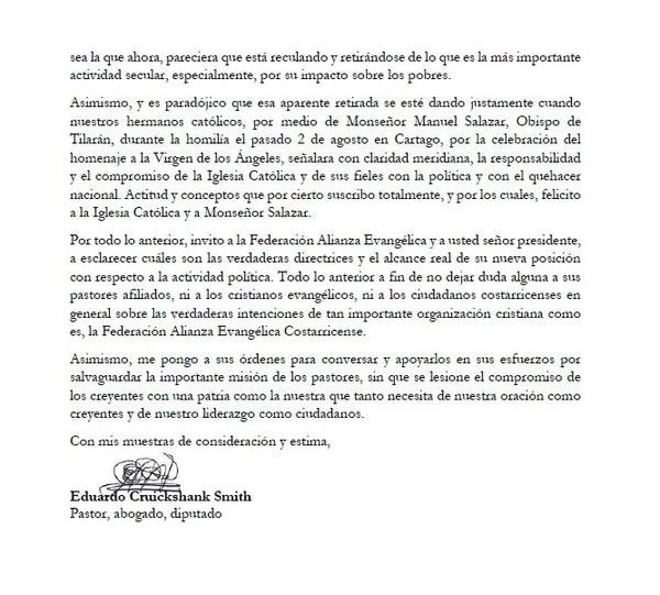 Carta abierta del diputado de Restauración Nacional, Eduardo Cruickshank, al presidente de la Alianza Evangélica, Rigoberto Vega.