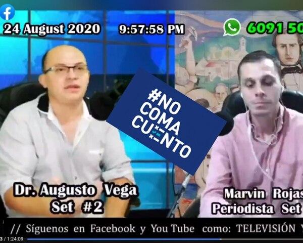 El médico Augusto Vega asistió el lunes 24 de agosto al programa La Hora de Juanito Mora, conducido por el periodista Marvin Rojas.