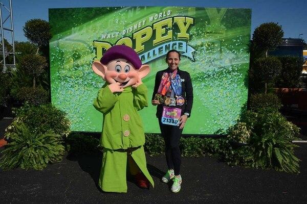 El Dopey Challenge de Disney consiste en correr cuatro carreras en cuatro días: 5, 10, 21 y 42 kilómetros. Foto: Cortesía de Gabriela Bogantes