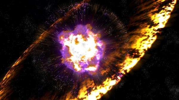 Impresión artística de una supernova – explosión de estrellas masivas– que según dos estudios recientes influyeron en la evolución de la Tierra.