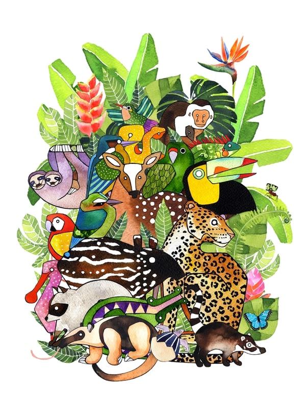Este trabajo en técnica mixta manual y digital de Leonor Parra se titula Fauna tropical (2017). Imagen: Cortesía de Leonor Parra.