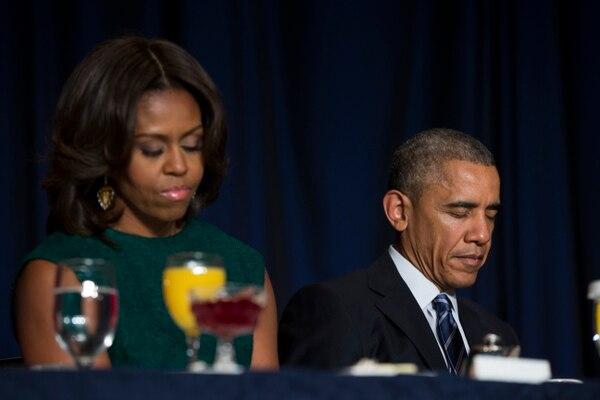 Michelle Obama acompañó a su esposo en la jornada de oración.
