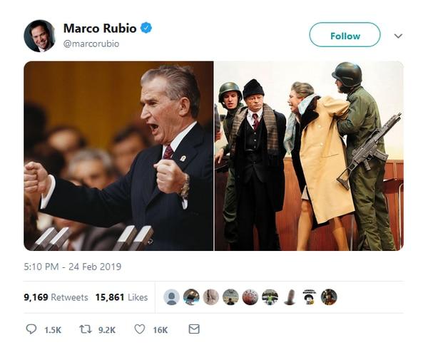 Tercer tuit de Rubio, mostrando a Nicolae Ceaușescu durante un discurso (i) y al antiguo líder rumano detenido junto a su esposa. La foto de la derecha es en realidad de una película que reconstruye su final. En el video que pusimos arriba, hay imágenes sensibles de su juicio y su fusilamiento.