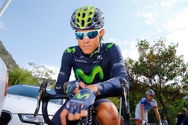 Andrey Amador en la salida de la etapa 12 de la Vuelta a España.
