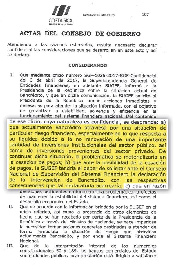 Reproducción acta de Consejo de Gobierno.