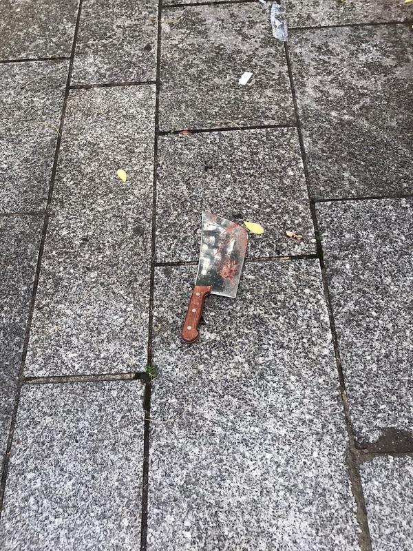 Este es el cuchillo con el cual se llevó a cabo el ataque, el viernes 25 de setiembre del 2020 en París. AFP