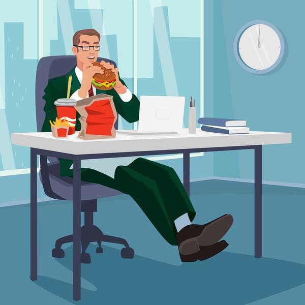 Esta es la realidad en muchas de las oficinas, donde el ritmo de trabajo es sedentario y la persona está obligada a comer en poco tiempo.