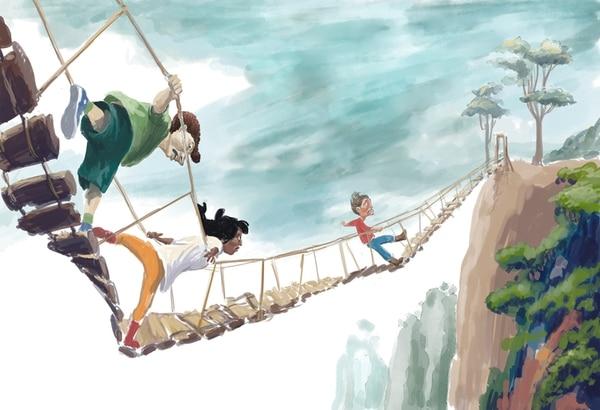 1. El trío de los miedosos. Ilustración de Héctor Gamboa.