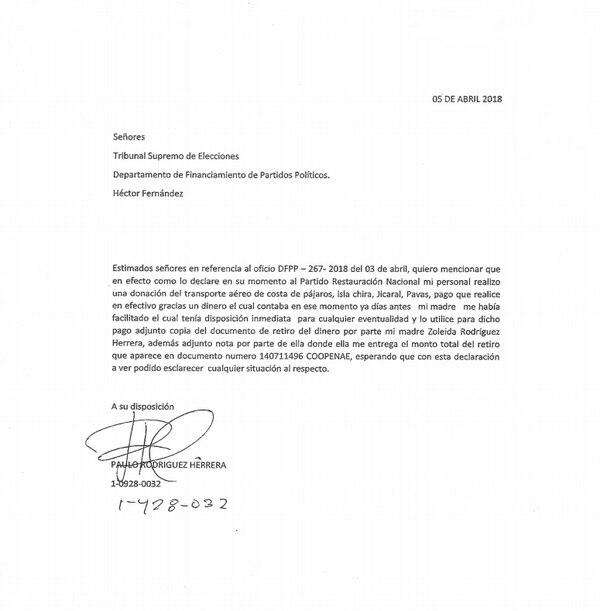 """Nota que el """"empresario ganadero"""" Paulo Rodríguez envió al TSE asegurando que pagó los vuelos en helicópteros, donados al PRN, con un dinero que le facilitó su mamá. Fuente: Reproducción"""