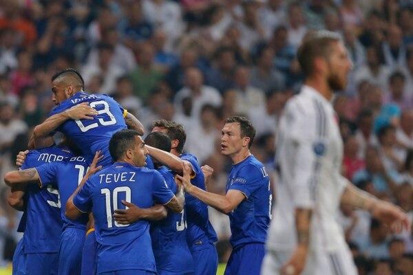 Los jugadores de la Juventus celebran el gol de Álvaro Morata que dio el empate ante el Real Madrid.
