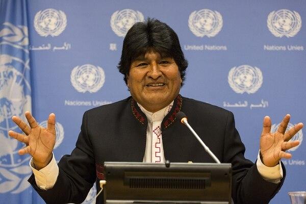 El presidente boliviano, Evo Morales, participa en una conferencia de prensa este sábado en el marco de la Cumbre del Desarrollo Sostenible en la sede de Naciones Unidas en Nueva York (EE.UU.).