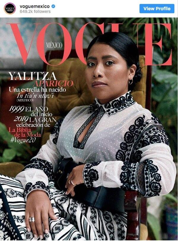 A finales del año pasado, Yalitza Aparicio en la portada de la revista 'Vogue México'