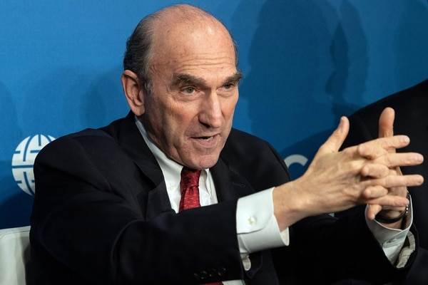 US Special Representative for Venezuela Elliot Abrams speaks during a discussion at the Atlantic Council on the future of Venezuela in Washington, DC, on April 25, 2019. (Photo by NICHOLAS KAMM / AFP)