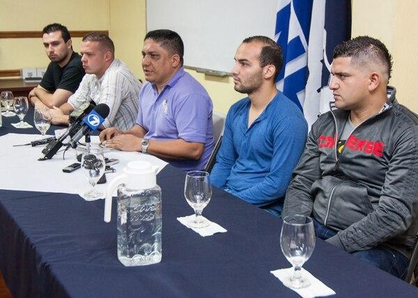 Juan Carlos Flores, Jorge Castro, Minor Anchía, Héctor Coto y Luis Arroyo en rueda de prensa ayer. | JEFFRY ARGUEDAS