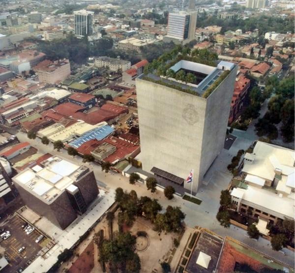 El segundo diseño de edificio para el Congreso contaría con 18 pisos y cuatro sótanos, según lo previsto por el arquitecto Javier Salinas. | CORTESÍA ASAMBLEA LEGISLATIVA.