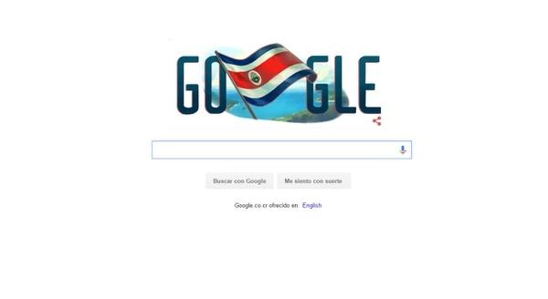 Google dedica su página de inicio a la Independencia de Costa Rica.