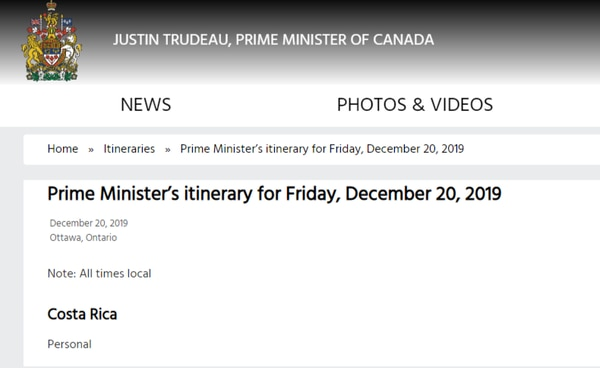 La oficina del gobernante canadiense publicó en internet su itinerario.