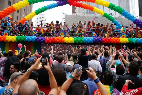 Marcha del orgullo gay en Sao Paulo, Brasil, el 29 de mayo del 2016.