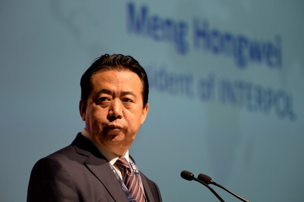Meng Hongwei dio un discurso en la apertura del Congreso Mundial de Interpol, el 4 de julio del 2017, en Singapur. Foto: AFP