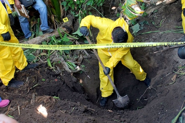 In this Jan. 15, 2018 photo, released by the General Prosecutor of Nayarit, a man digs up a clandestine grave in Xalisco, Nayarit state, Mexico. Sniffer dogs led authorities to the grisly discovery of three clandestine graves containing at least 33 bodies in a sugarcane field. Some of the bodies may have been hacked up before being tossed into the pits, and authorities believe they were probably involved in the drug trade. (General Prosecutor of Nayarit via AP)