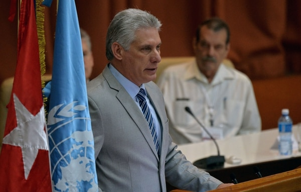 Cuban President Miguel Diaz-Canel delivers a speech during the inauguration of the 37th Session of CEPAL at the Convention Palace in Havana, on May 8, 2018 / AFP PHOTO / YAMIL LAGE