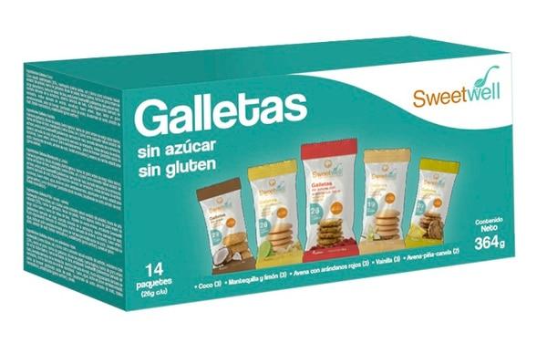 Esta caja trae 14 paquetes de galletas en variedad de sabores. Está a la venta en los supermercados Pricesmart. Cortesía de Sweetwell.