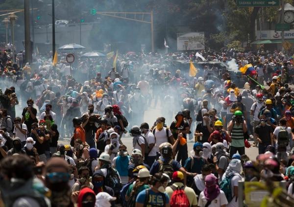 Manifestaciones en Caracas este jueves. También hubo revueltas en otros Estados como Táchira y Carabobo.
