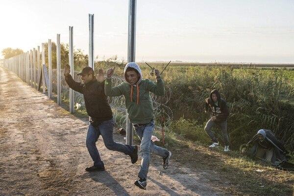 igrantes procedentes celebran pisar suelo húngaro tras atravesar la valla fronteriza procedentes de Serbia, en Roszke, población situada a unos 180 km al sureste de Budapest (Hungría), hoy, 9 de septiembre de 2015.