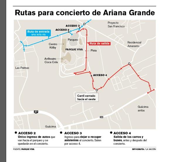 Mapa de accesos y salidas a Parque Viva para el concierto de Ariana Grande.