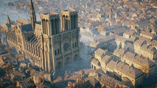 """El videojuego """"Assassin's Creed Unity"""" (2014) sitúa su trama en la catedral, blanco de pillajes durante la Revolución francesa."""