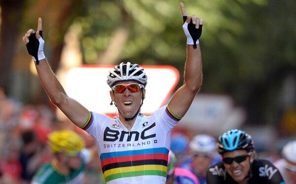 Philippe Gilbert celebra su triunfo de este jueves en la etapa 12 de la Vuelta a España.