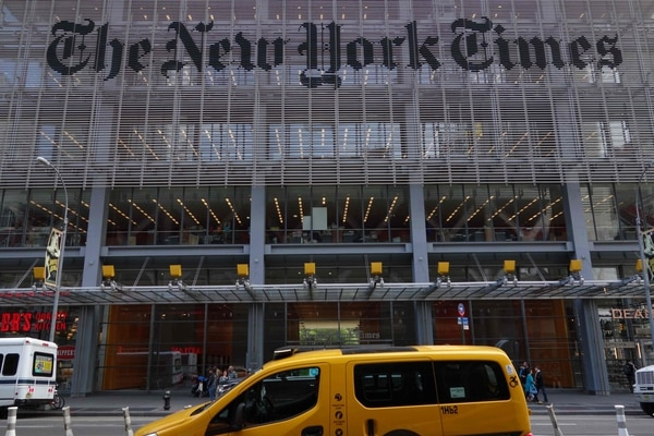 (FILES) In this file photo taken on April 27, 2016 the sign on the west side of the New York Times building at 620 Eighth Avenue is seen in New York. - The New York Times moved into the profit column in the fourth quarter, helped by gains in digital advertising and the biggest increase in online subscribers since the months after the 2016 US election. The big US daily said February 6, 2019 its profit in the final three months of the year amounted to $55.1 million compared with a loss of $56.8 million in the same period a year earlier. (Photo by DON EMMERT / AFP)