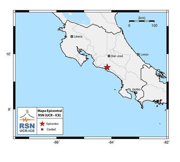 El sismo se localizó nueve kilómetros al Norte de Quepos, Aguirre.