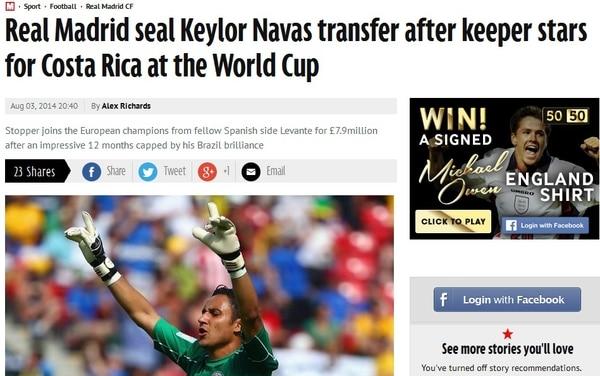 El periódico británico The Mirror también resaltó a Navas en su página web.
