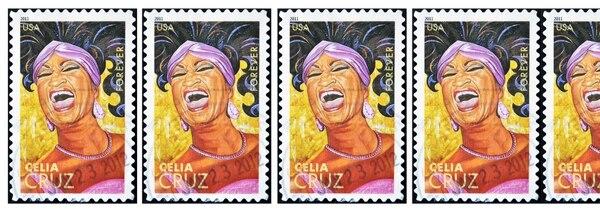 Postal de la cantante cubana Celia Cruz