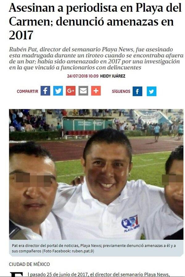Rubén Pat es el segundo comunicador de Playa News asesinado en menos de un mes.