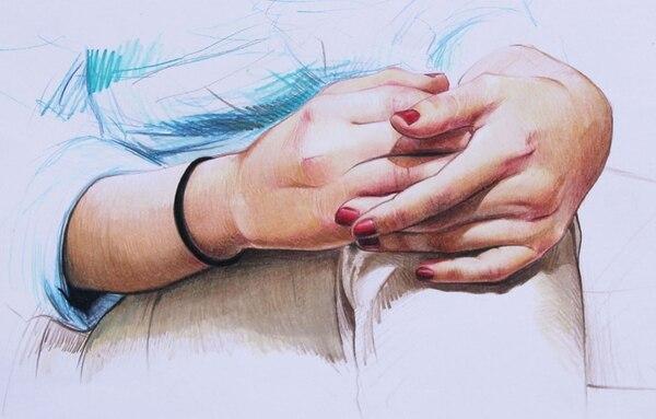 "5. Dibujo de una ""miniserie"" femenina realizada con lápices de colores."