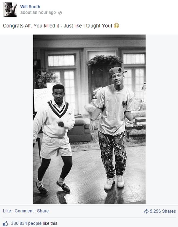 Will Smith felicitó a su amigo Alfonso Ribeiro por ganar la competencia de baile y aprovechó para revivir una imagen juntos en el Príncipe del Rap.