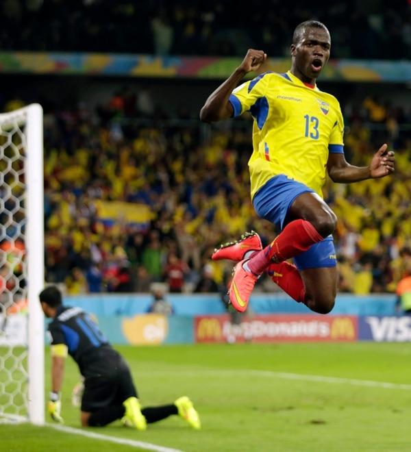 Enner Valencia celebra su gol en el partido de Ecuador ante Honduras.